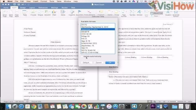 Insert Date in Word 2016 for Mac - VisiHow