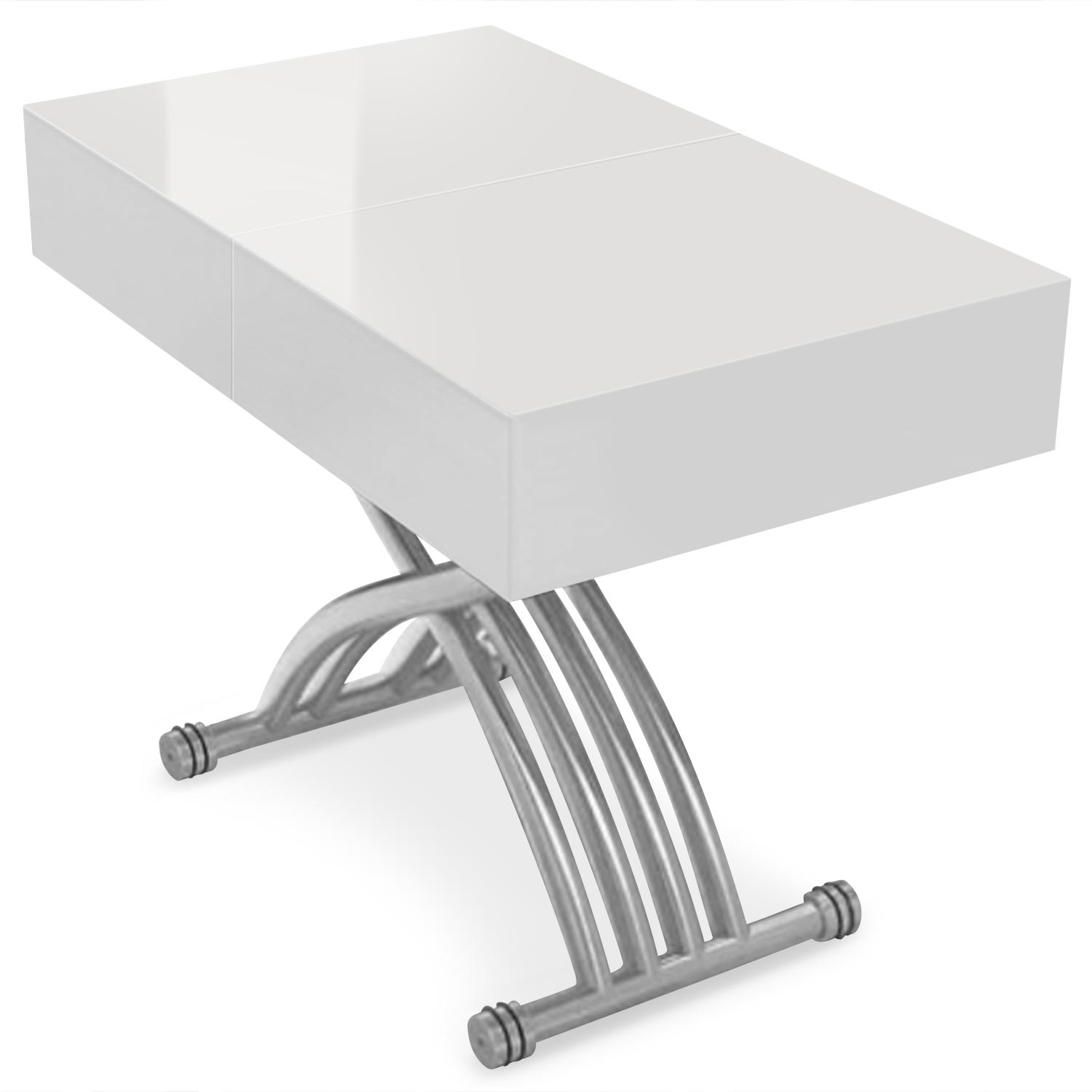 Table Basse Relevable Blanc Laqué Table Basse Relevable Et Extensible Jil Blanc Laqué Pieds Argent