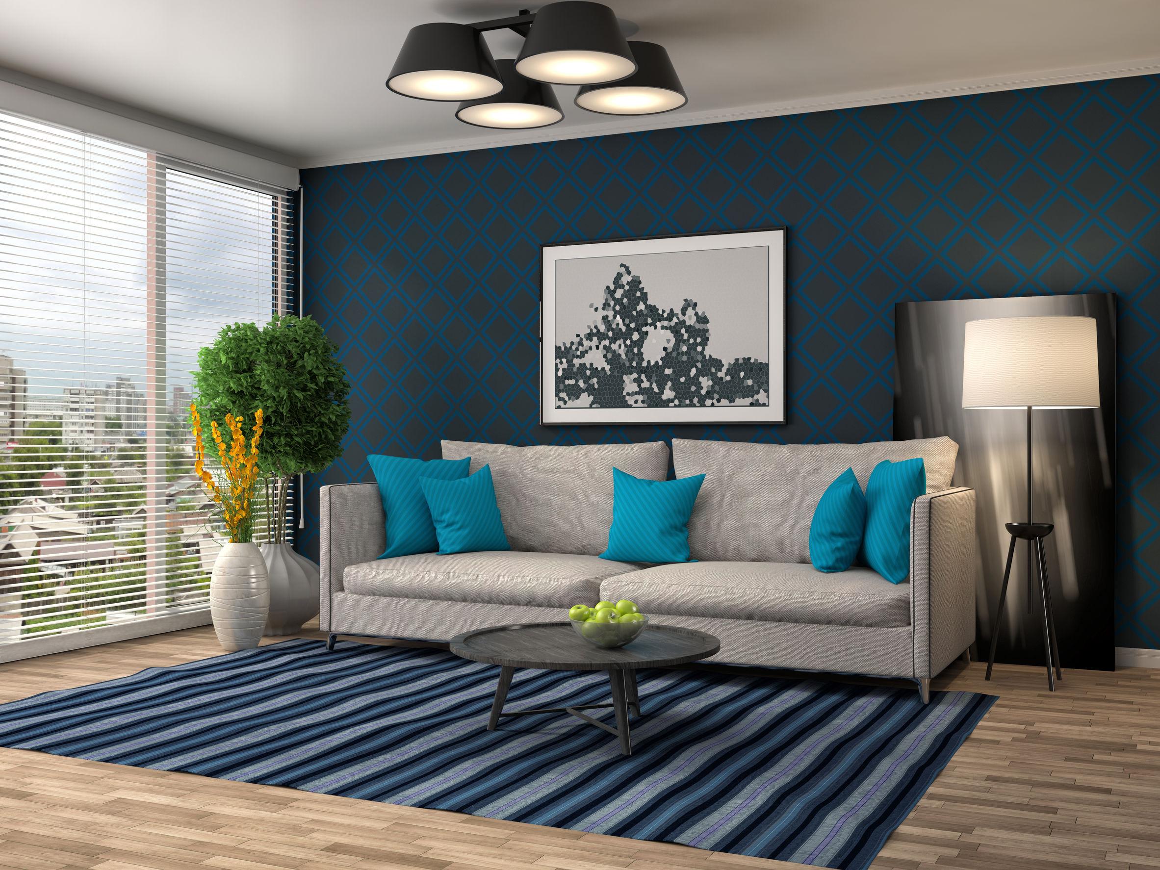 Lampe De Salon Bleu Turquoise | Fauteuil De Salon Fauteuil En Tissu ...