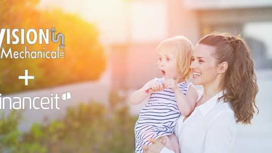 Happy mother and baby about financing their heating and air conditioning