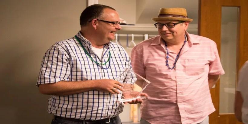 Kevin Carpenter and Leland Turner receiving a CDG award at last year's Volunteer Appreciation event.