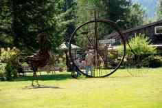 Man looks at metal art - Mt. Rainier_DD