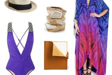Eugenia Kim Hat, Mara Hoffman Bathing Suit, Kara Ross Bangles, Hermes Journal, Roberto Cavalli Caftan