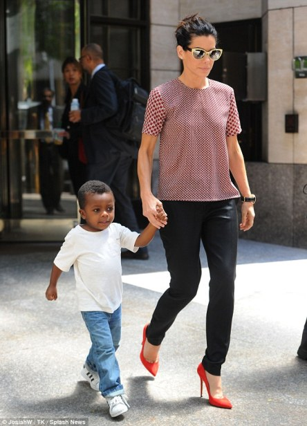 Sandra Bullock with 3-year-old son Louis, June 2013