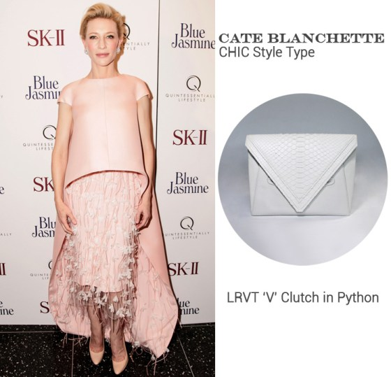 Cate Blanchett in Balenciaga Edition + LRVT 'V' Clutch in Python