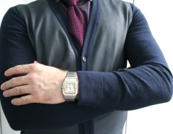 Burberry Prorsum Cardigan with Leather Patch Detail, Ascot Chang Custom Shirt, Tom Ford Knit Tie, Cartier Santos Watch