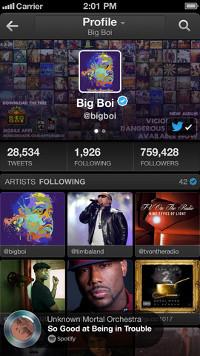 App de Twitter #Music en un iPhone