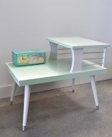 painted vintage telephone table after