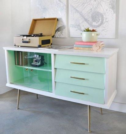 Painted vintage mid century modern sideboard before and after for Painted mid century modern furniture