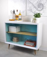 Painted vintage bar unit before and after