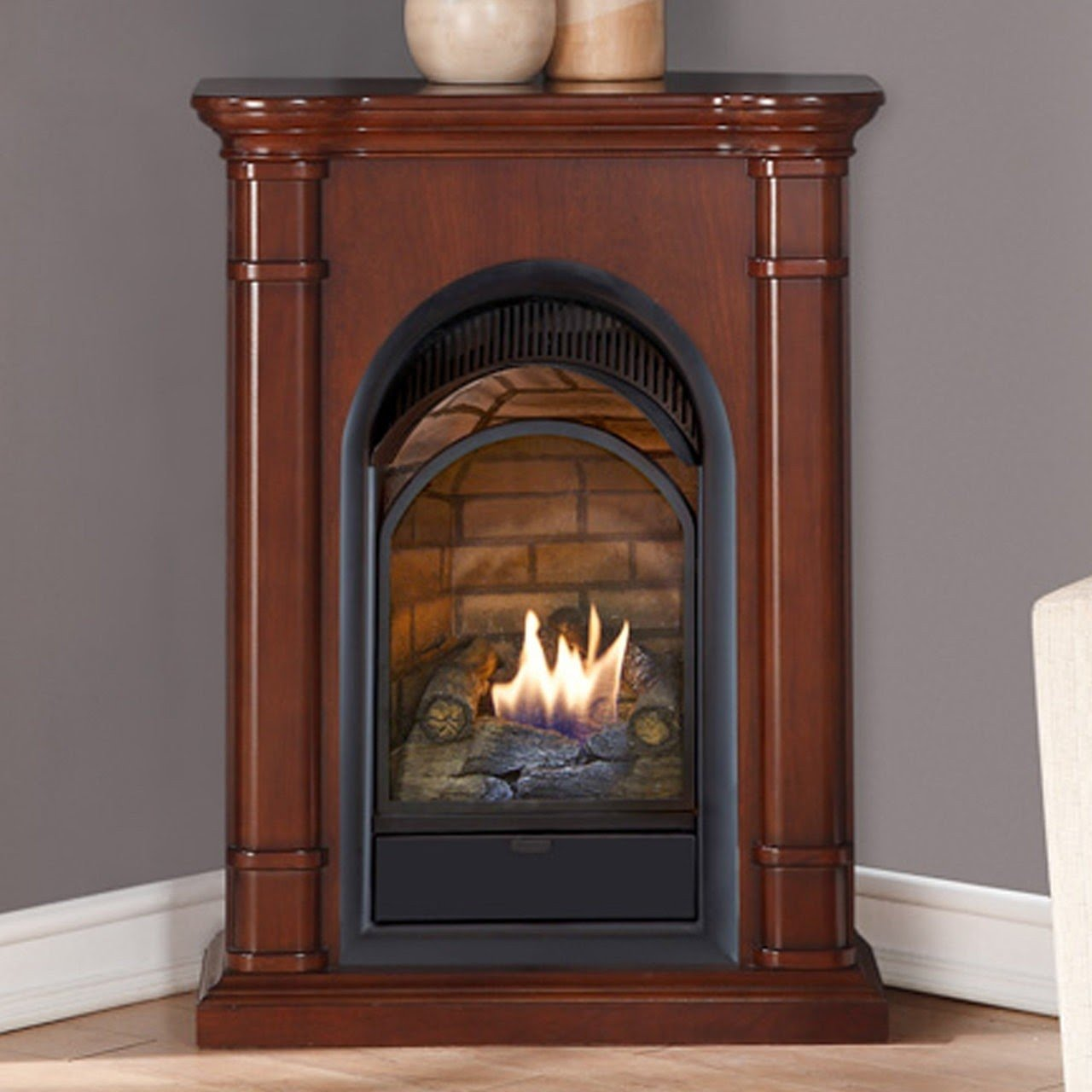 How Does A Vent Free Gas Fireplace Work Corner Ventless Gas Fireplace Visual Hunt