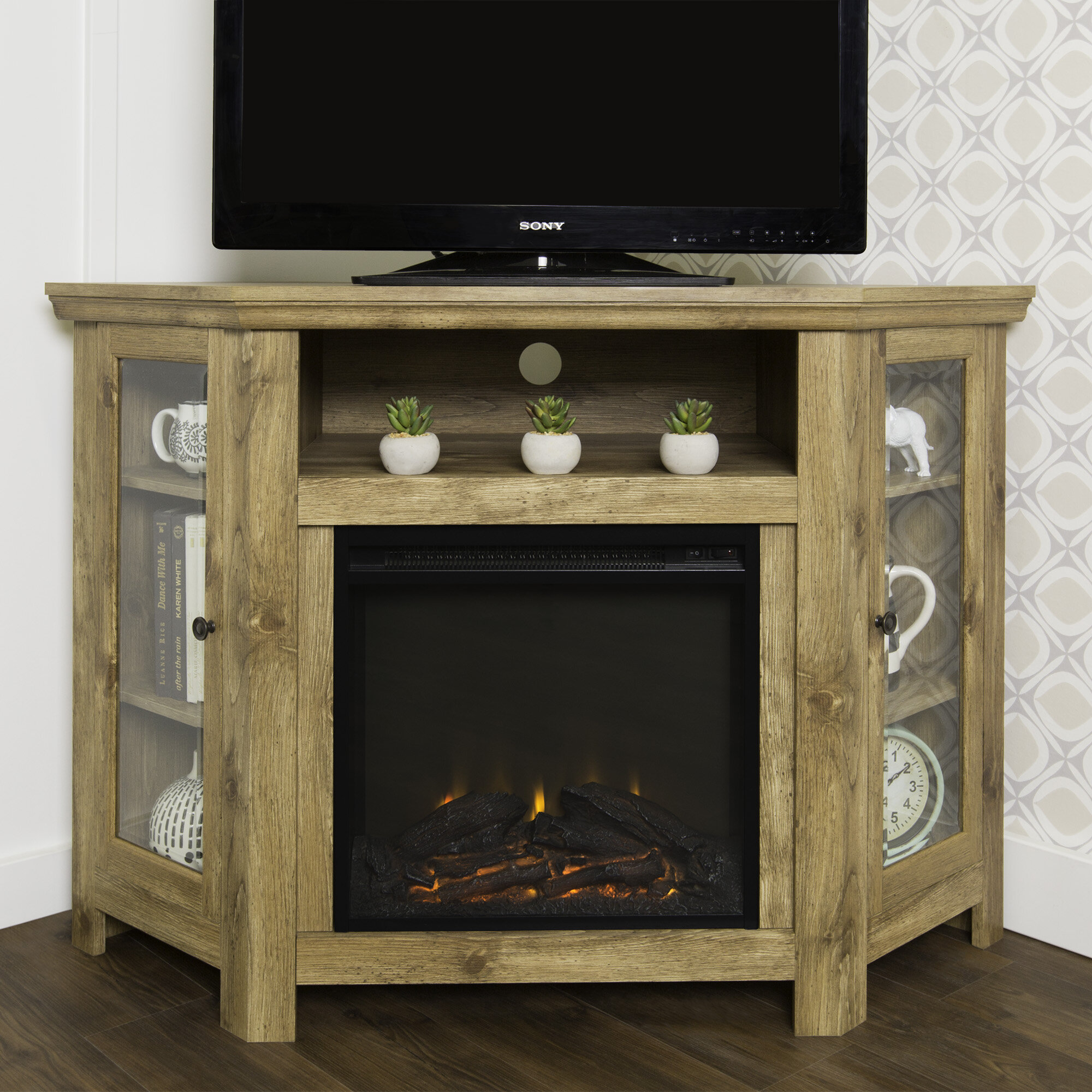 Fireplace Tv Combo Corner Electric Fireplace Tv Stand Visual Hunt