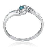 SuperJeweler 10K White Gold Blue Diamond Promise Ring ...