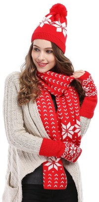 Bienvenu Women's Snowflake Hat, Gloves and Scarf Winter ...