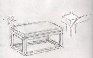 a coffee table idea sketch I drew
