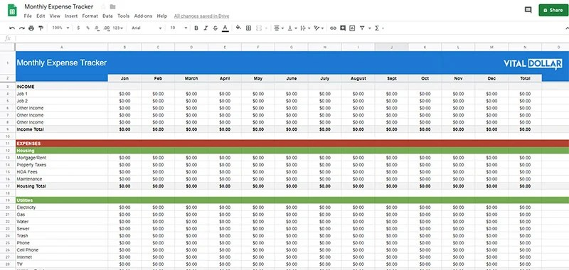 Spending Log Free Monthly Expense Tracking Spreadsheet and Printable