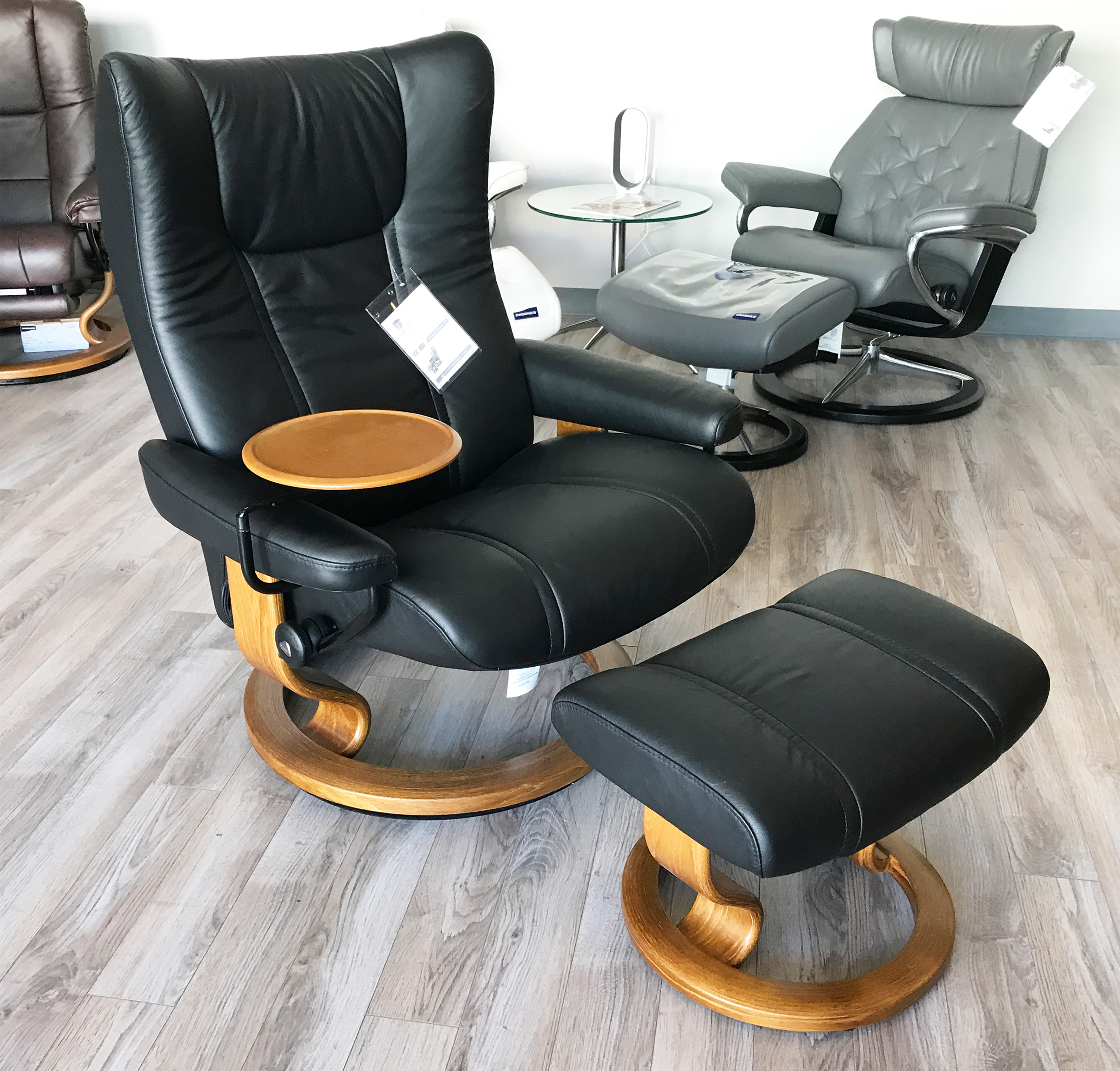 Ekornes Stressless Stressless Wing Recliner Chair And Ottoman In Paloma Black Leather By Ekornes
