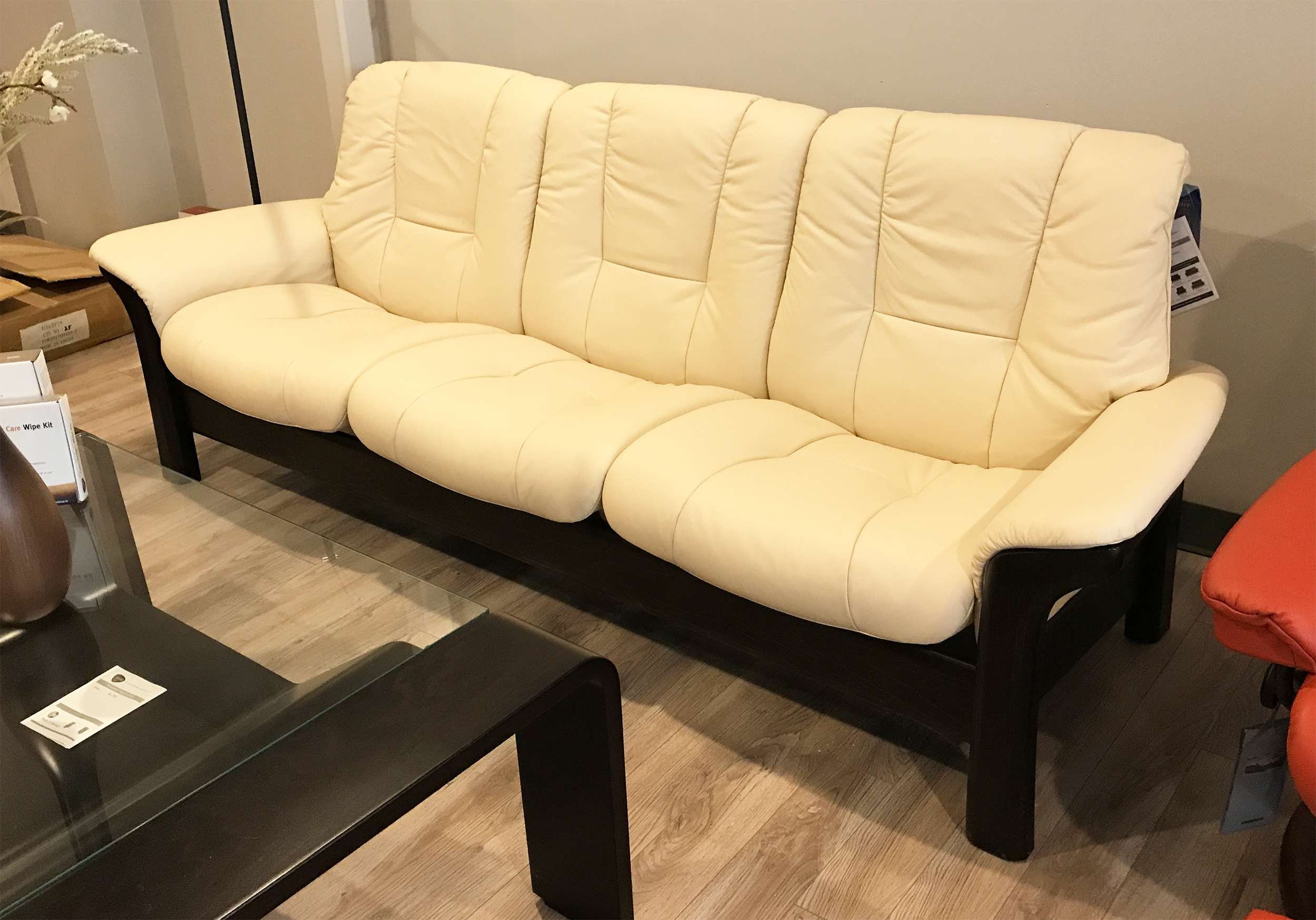 Ekornes Sofa Stressless Buckingham 3 Seat Low Back Sofa Batick Cream Color Leather By Ekornes