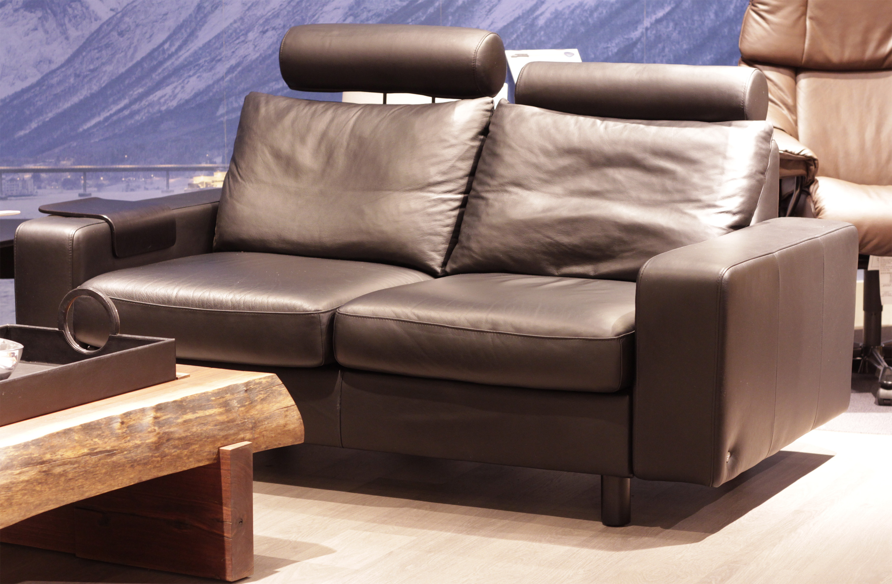 Stressless Sofa Leather Stressless E200 Loveseat Sofa In Paloma Rock Leather By