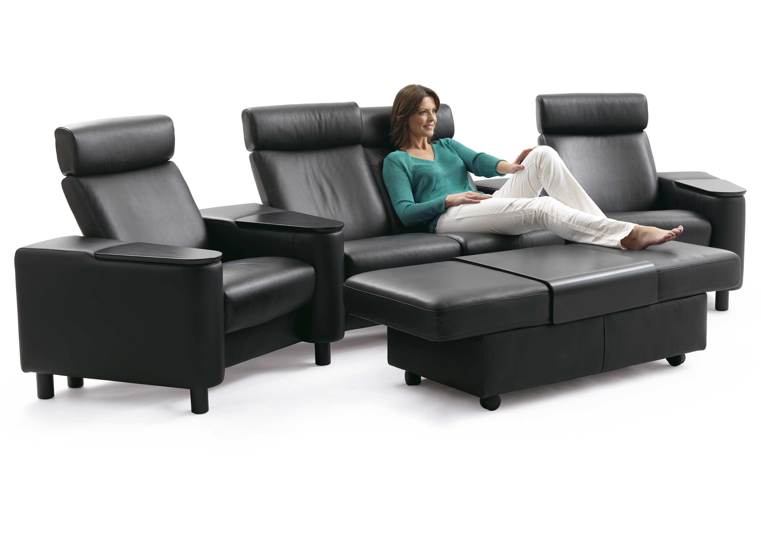 Ekornes Sofa Stressless Space Home Theater Sofa Sectional In Paloma Black Leather By Ekornes