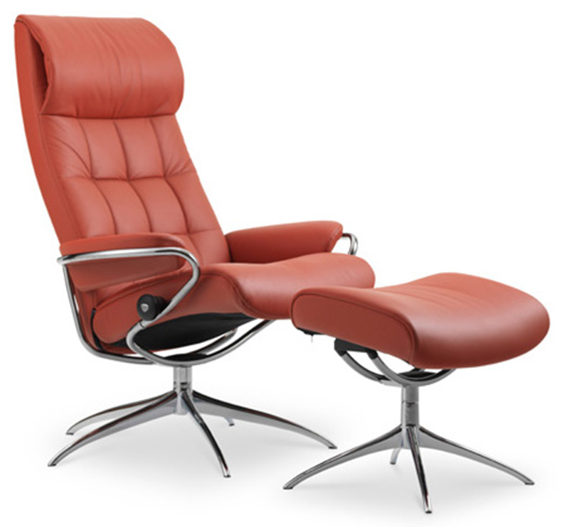 Stresless Ekornes Stressless London High Back Leather Recliner And