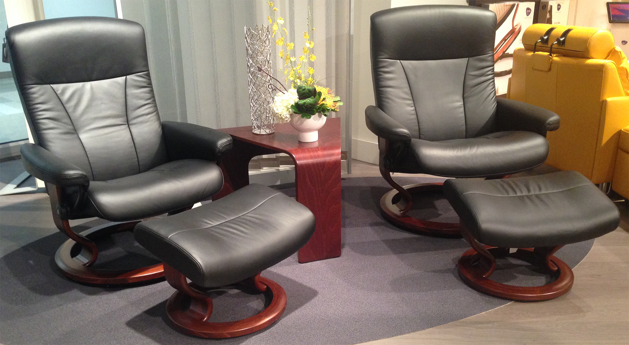Ekornes Sofa Stressless President Recliner Classic Wood Base Chair And Ottoman