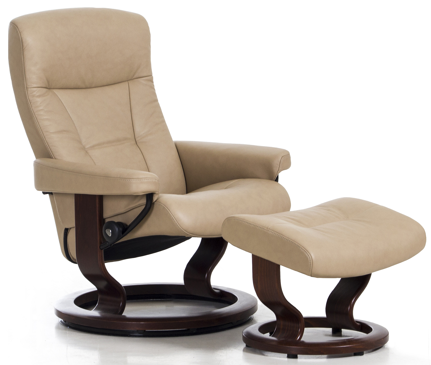 Sressless Stressless President Recliner Classic Wood Base Chair And Ottoman