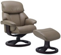 Fjords Alfa 520 Ergonomic Leather Recliner Chair + Ottoman ...