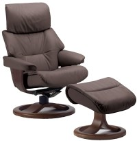 Fjords Grip Ergonomic Leather Recliner Chair + Ottoman ...