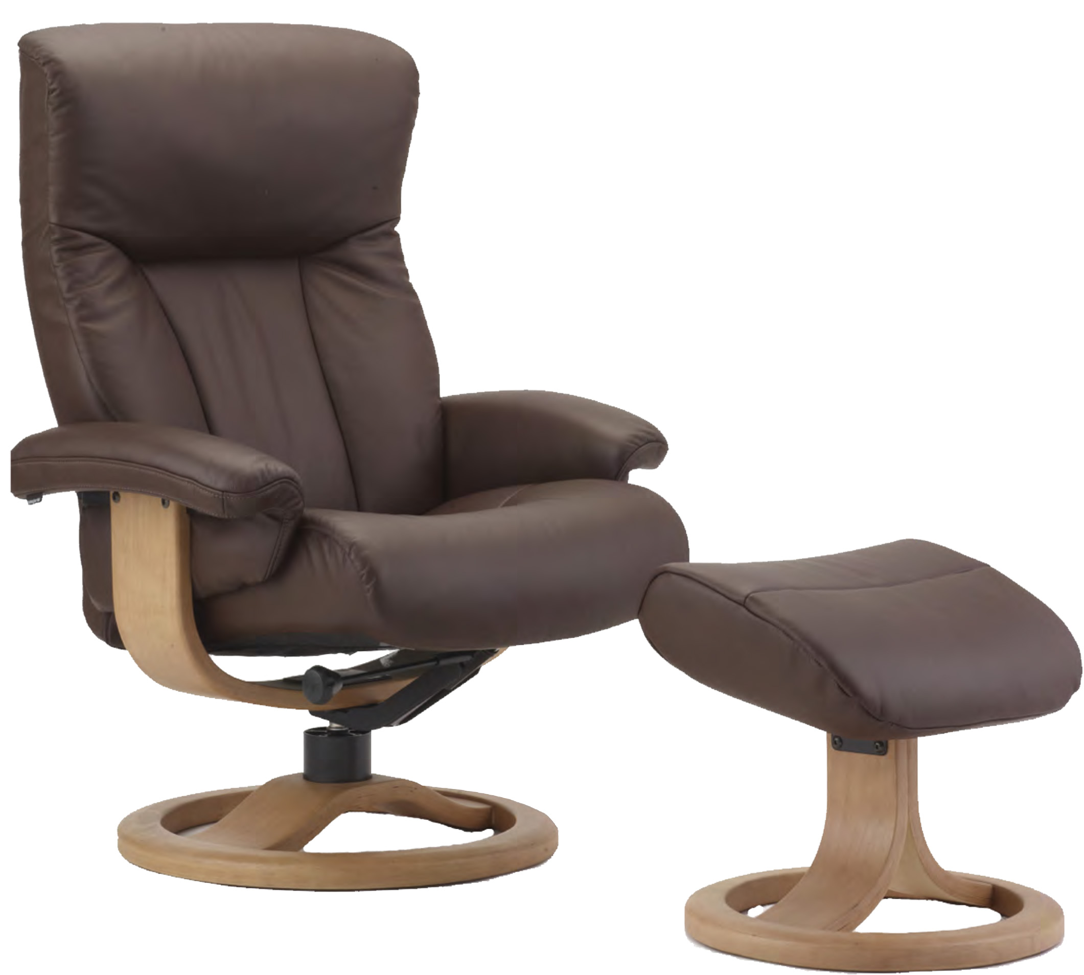 Scandinavian Chair Fjords Scandic Ergonomic Leather Recliner Chair 43 Ottoman