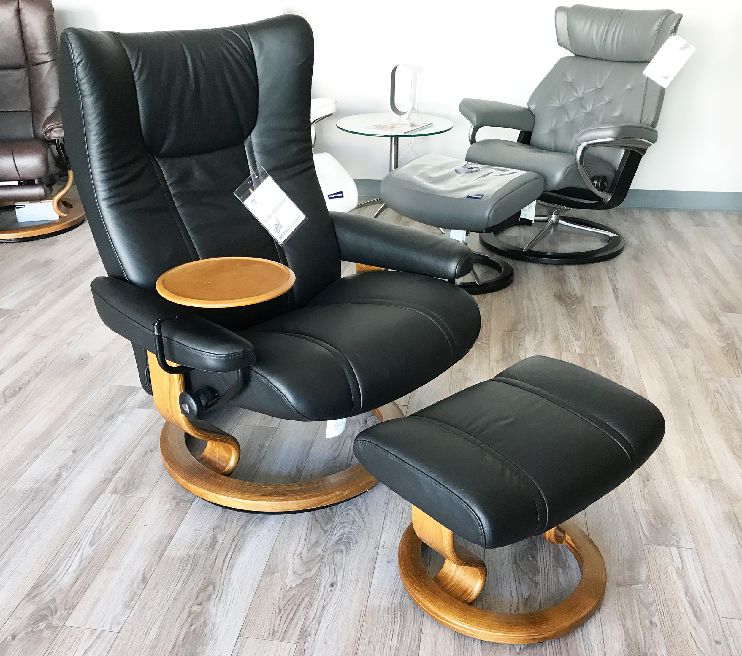 Leather Recliner Chair With Ottoman Stressless Wing Recliner Chair And Ottoman In Paloma Black Leather By Ekornes