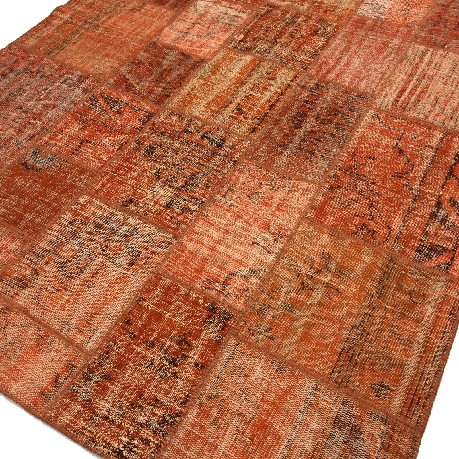 Teppich Orange Orange Vintage Patchwork Flicken Teppich 206x304cm