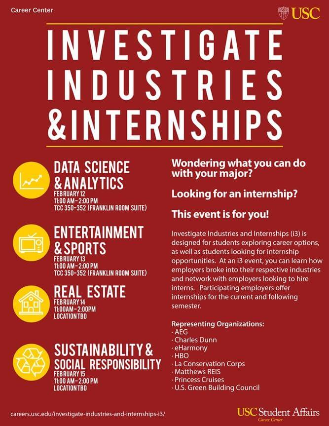 Great Internship Workshops with I3 - USC Viterbi Career Services - looking for an internship