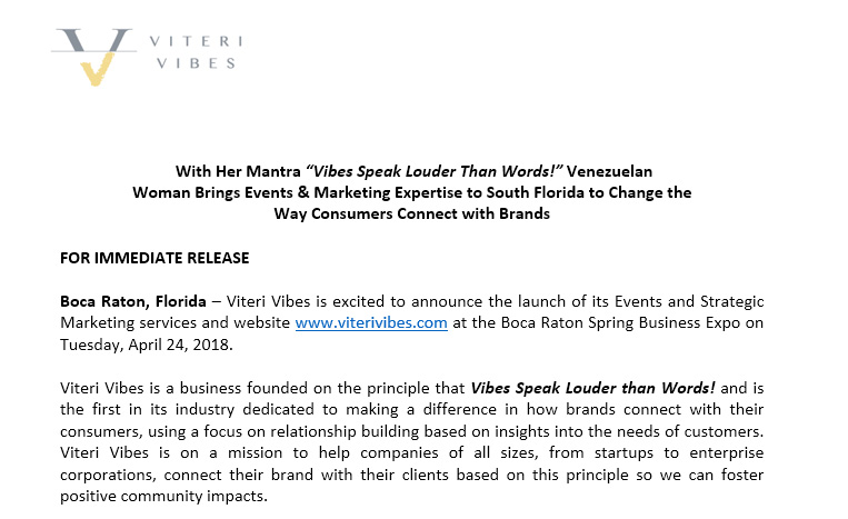 Press release Archives - Viteri Vibes