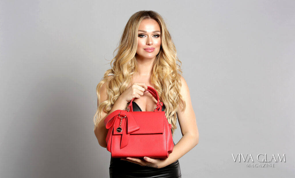 katarina van derham gunas vegan handbag purse slovak viva glam magzine beach waves sunset blond cashmere hair