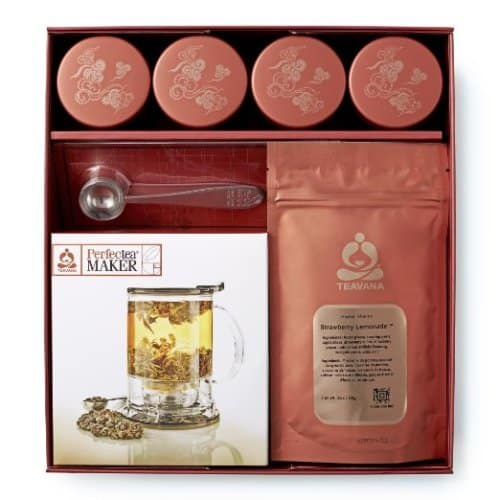 Teavana Tea Sampler Gift Set – new & updated $ shipped free! One of our most popular gift items that includes everything needed to create a perfect cup of tea! Set includes 16oz PerfecTea Maker, 12oz of German Rock sugar, 4 tins of tea (2 oz each) and a tea spoon in a gift box.