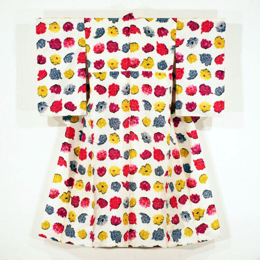 Meisen Kimono with Rose Pattern 昭和30–35年(1955–60)頃