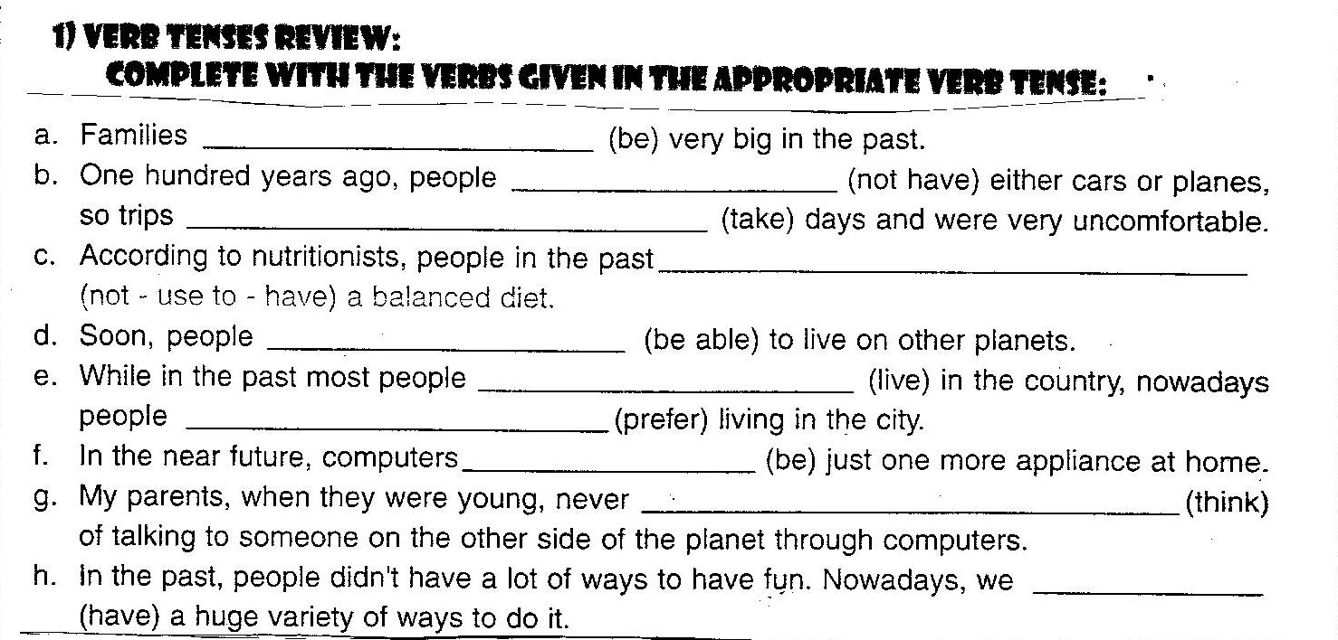 verbs tense exercises