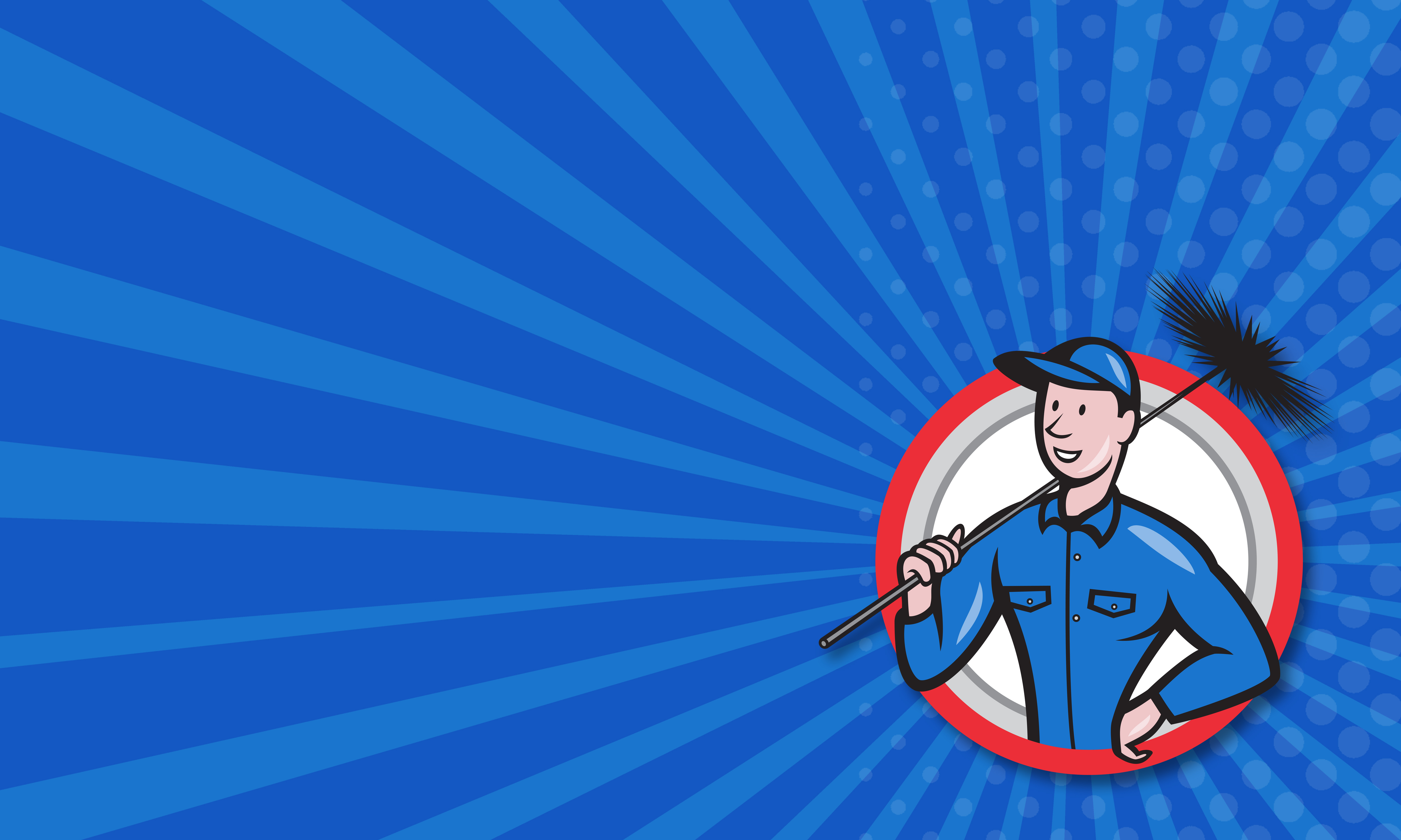 Business card template showing illustration of a chimney sweeper cleaner worker with sweep broom viewed from front set inside circle done in cartoon style.