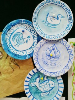 Yuan and Ming Dynasty porcelain plates. 4th grade Chinese art. Blue acrylics on paper plate.