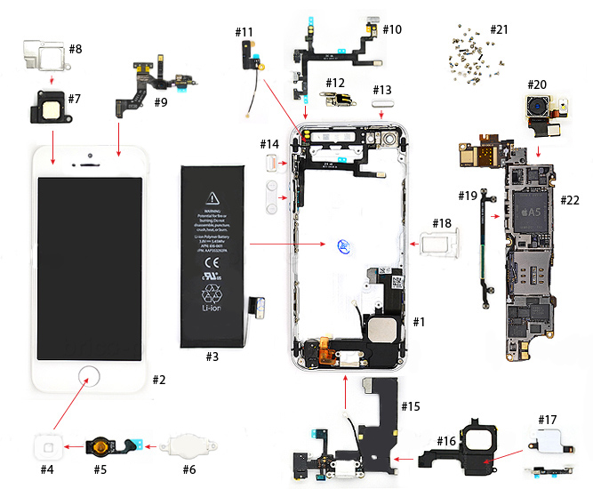 iPhone 5 Parts Diagram - VKRepairCom