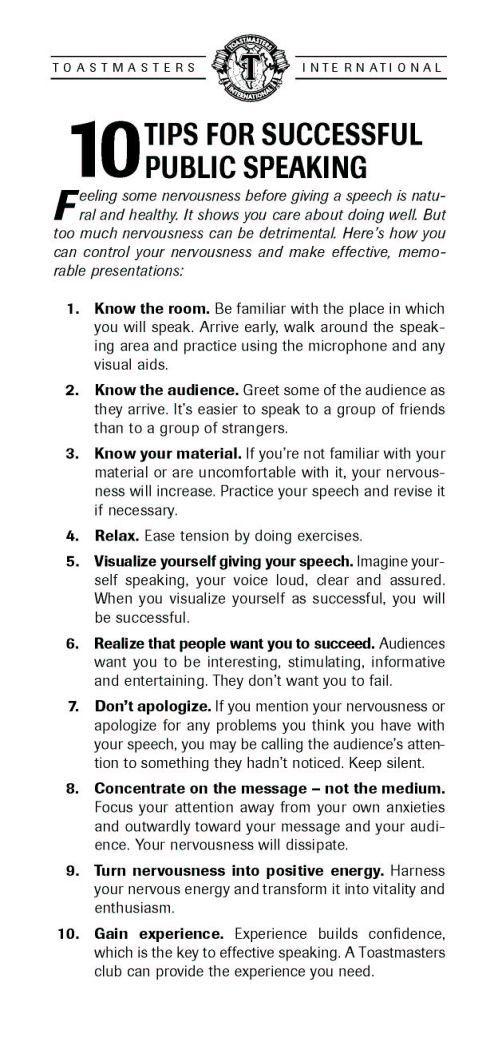 10 Tips For Successful Public Speaking #TEDx #SocialMediaWeek - Free Affidavit Forms Online