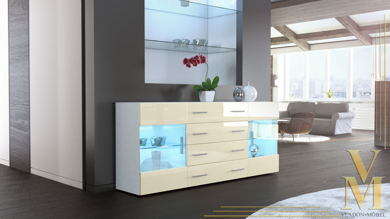 Sideboard Weiß Sideboard Chest Of Drawers Cabinet Bari V2 White - High