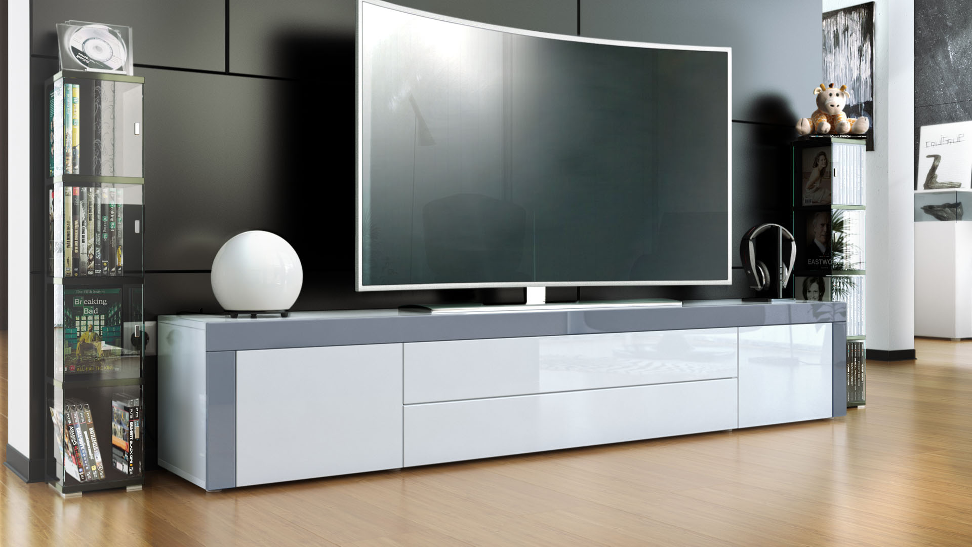 Tv Board Weiß Tv Stand Board Unit Lowboard Cabinet La Paz White High