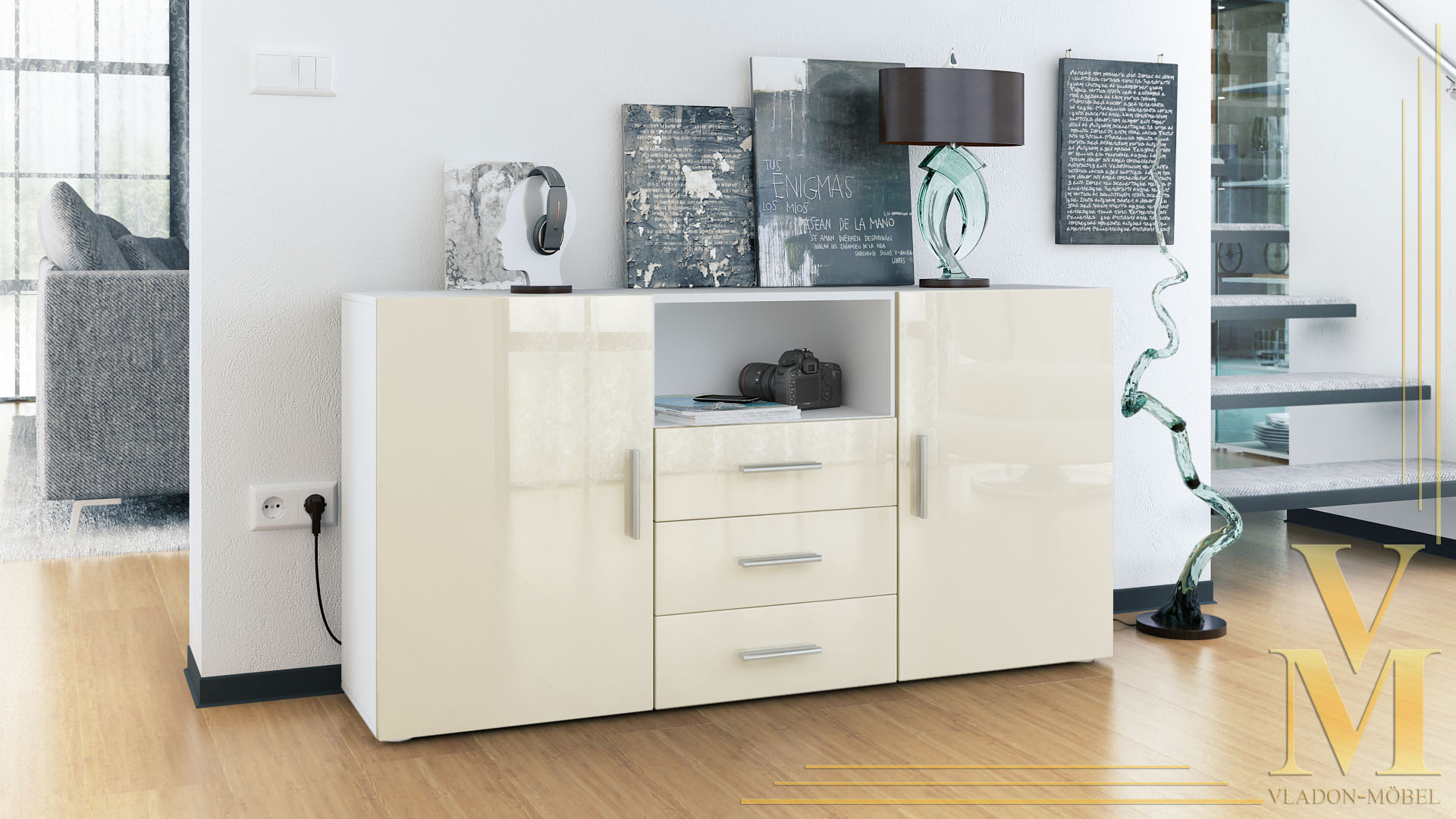 Sideboard Creme Matt Sideboard Cabinet Chest Of Drawers Skadu White High