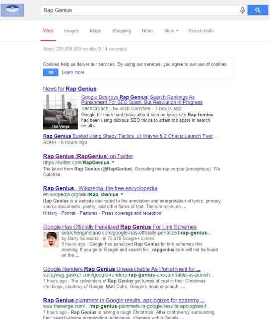 Rap Genius Google Search Google Penalises Rap Genius   Offsite SEO Gone Wrong
