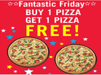 Domino's Pizza Buy One Get One Offer + 25% Cashback Extra by Wallet
