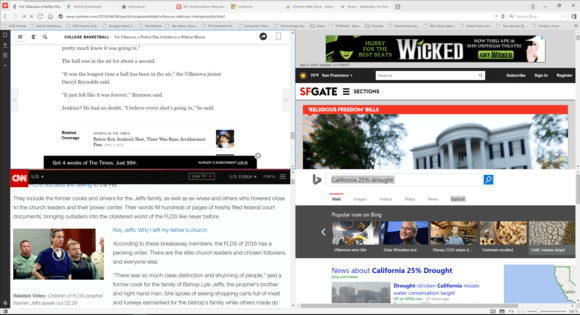 How vivaldi browser four screen layout shows