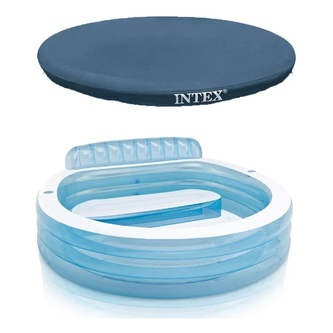 Intex Vs Bestway Review Intex 88in X 85in X 30in Swim Center Inflatable Family Lounge Pool W Built In Bench 8 Foot Cover