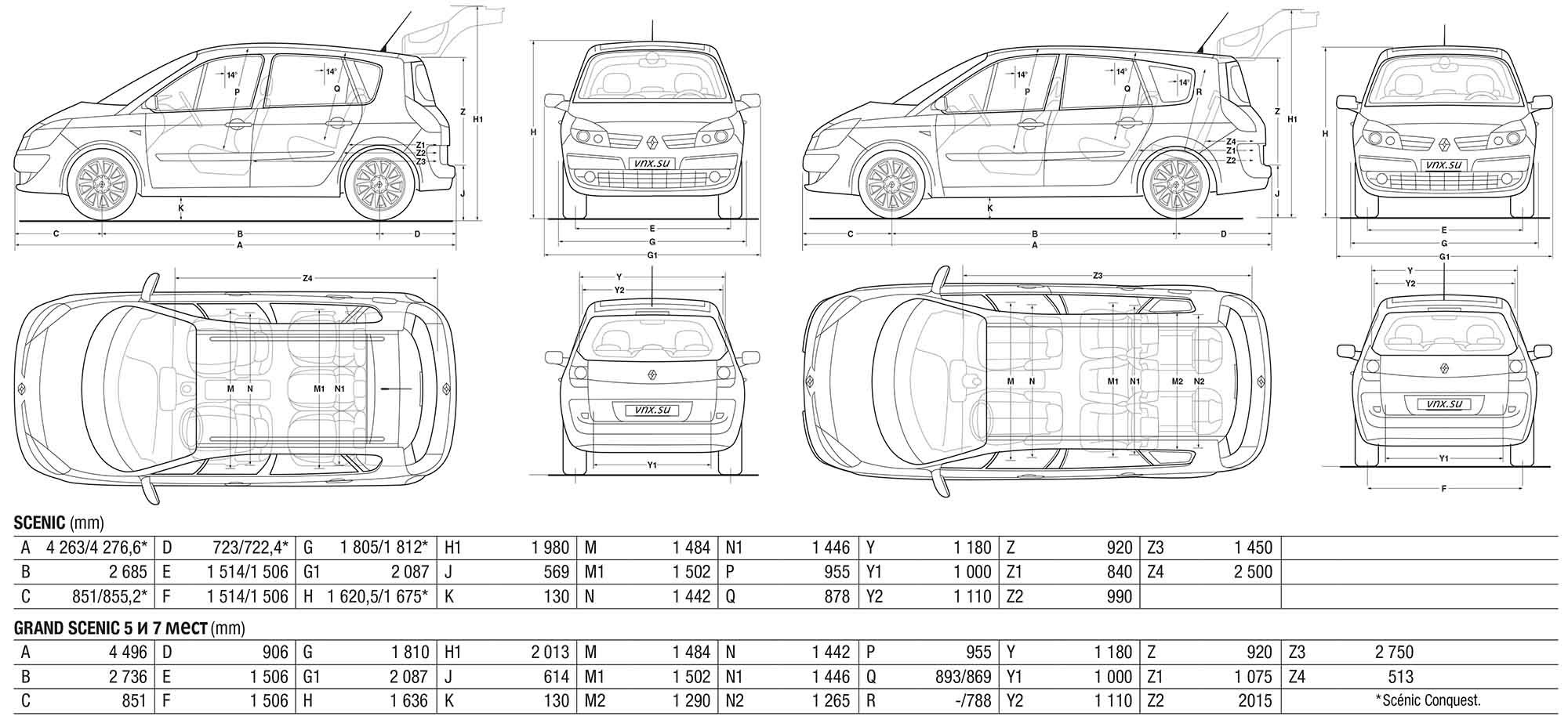 Dimensions Espace Scenic 2 Dimensions The Vector Drawing Renault Scenic